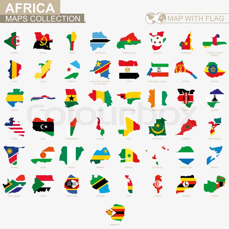 Map with flag African countries     | Stock vector | Colourbox