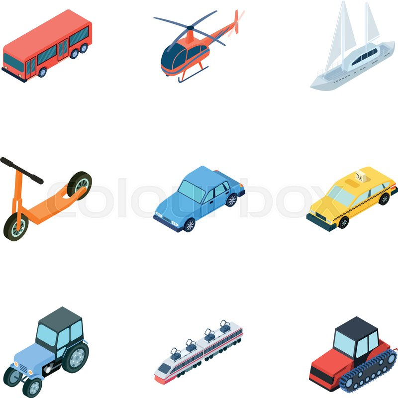 Land, water, air transport  Machines     | Stock vector