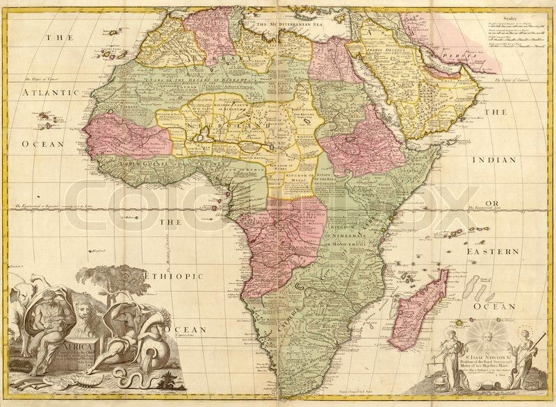 Editorial image of 'Ancient map of Africa'