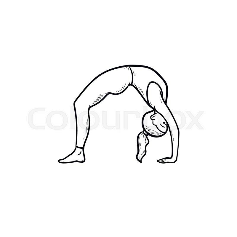 Woman Practicing Yoga Bridge Pose Hand Stock Vector Colourbox