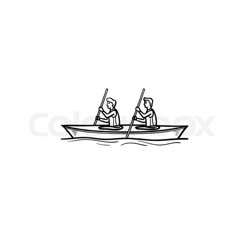 Two sportsmen rowing in canoe hand drawn outline doodle icon. Water sport, rowing, kayaking concept. Vector sketch illustration for print, web, mobile and infographics on white background, vector