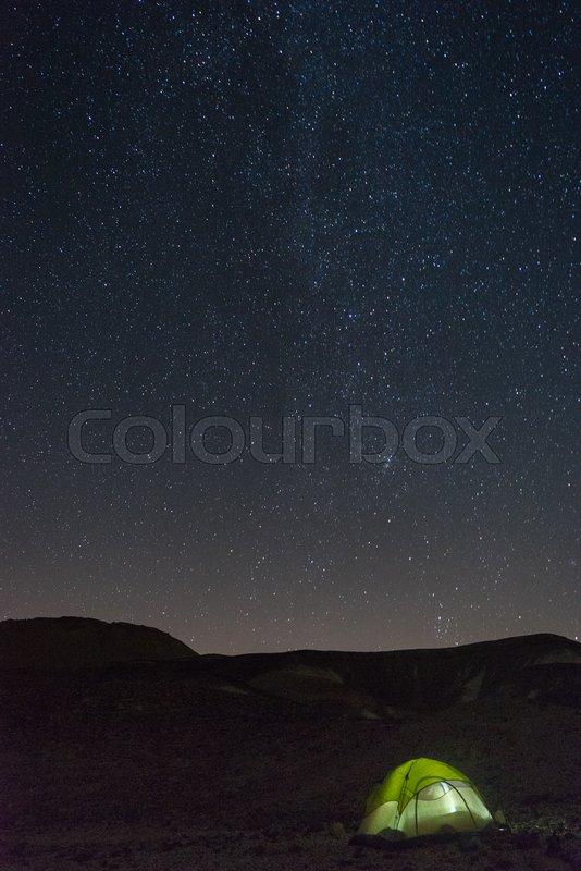 Travel in israel desert - hiking under stars, stock photo