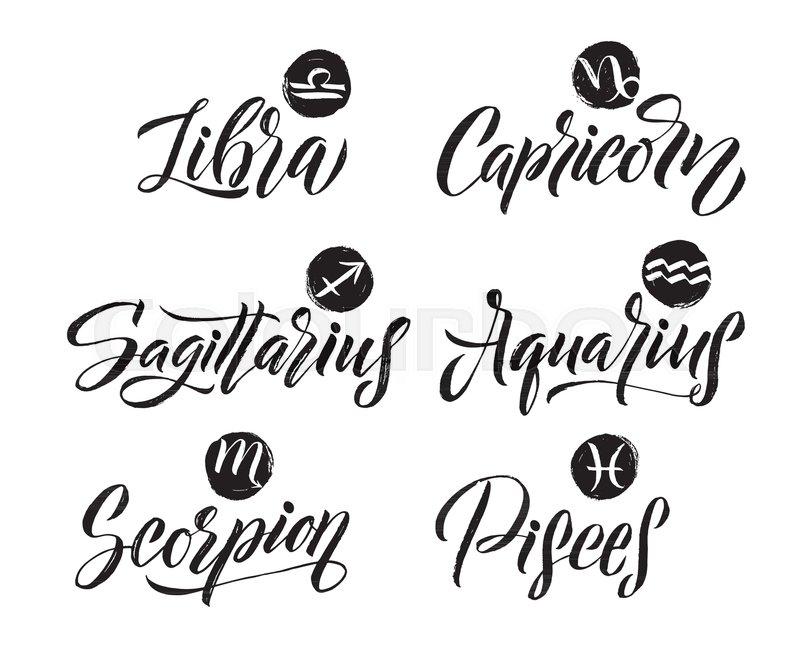 Calligraphy Zodiac Signs Set Hand Drawn Horoscope Astrology Symbols