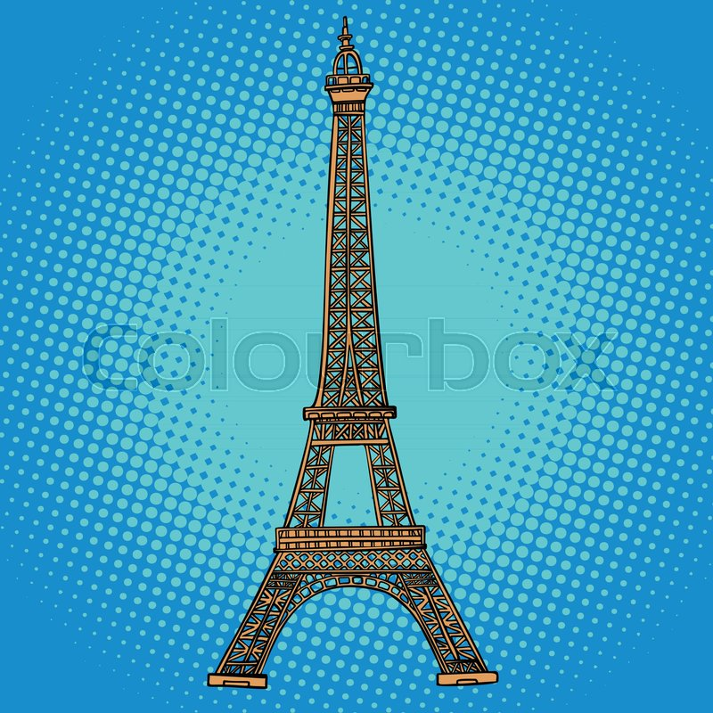 Eiffel Tower Paris France Comic Stock Vector Colourbox