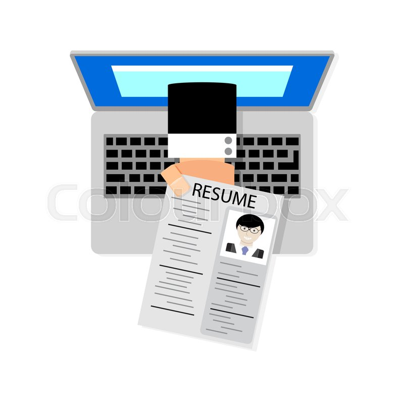 Job search online. Hand holding cv resume from screen laptop. Vector ...