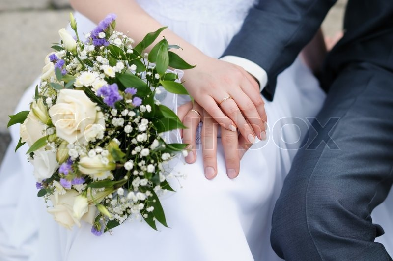 bride and grooms hands with wedding rings stock photo colourbox - Wedding Rings On Hands