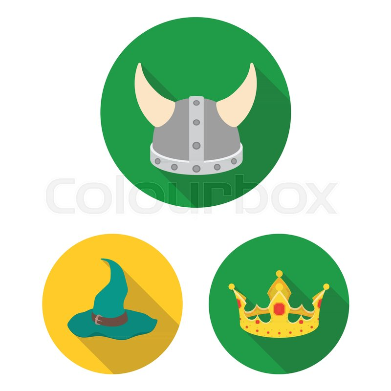 Different kinds of hats flat icons in set collection for design.Headdress  vector symbol stock web illustration 9e03f5affc30