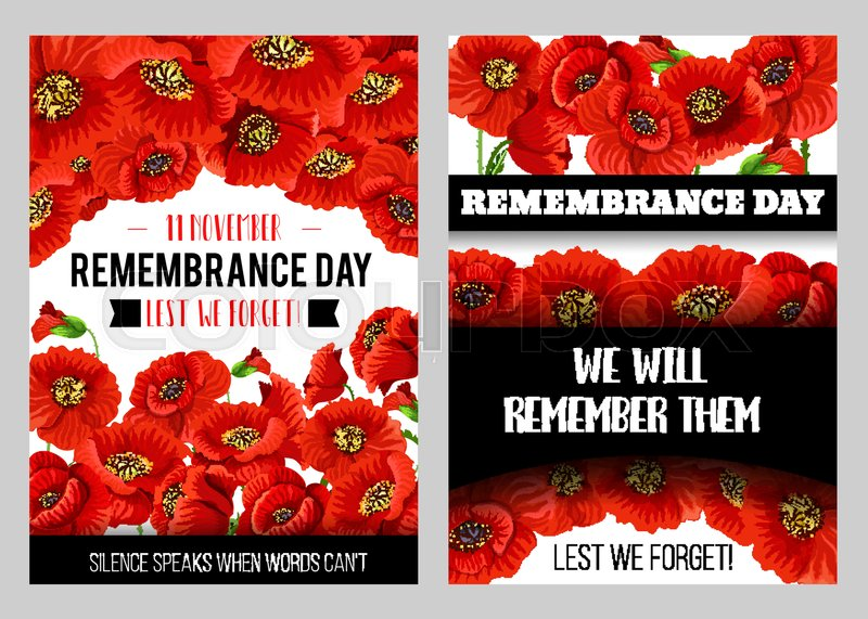 Remembrance day memorial poster with british legion poppy flower remembrance day memorial poster with british legion poppy flower world war soldier and veteran commemorate anniversary floral banner design with red poppy mightylinksfo