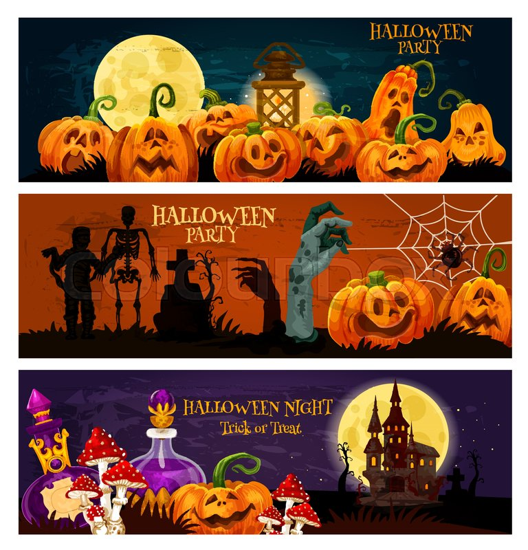 Halloween zombie night party banner pumpkin lantern ghost haunted pumpkin lantern ghost haunted house and cemetery with zombie and skeleton moon spider net and thomb invitation template for october holiday celebration stopboris Gallery