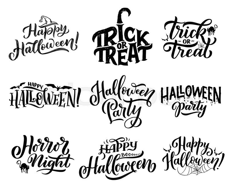 Happy halloween trick or treat lettering for october holiday happy halloween trick or treat lettering for october holiday greeting cards design horror night party invitations with hand drawn calligraphy decorated by m4hsunfo