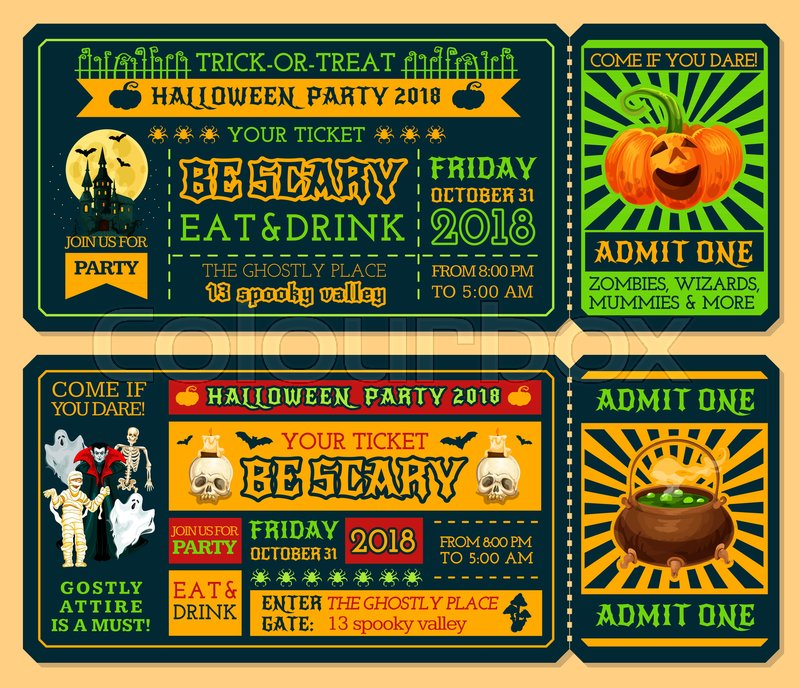 halloween ticket template for october holiday night party admit one ticket design with horror pumpkin lantern ghost and bat spooky house