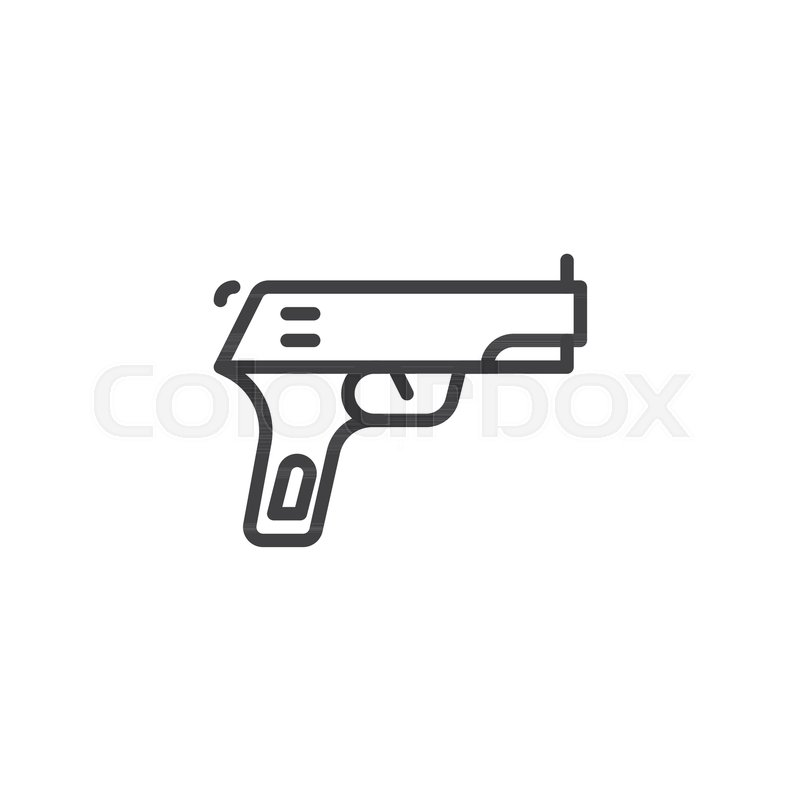 Gun Pistol Outline Icon Linear Style Sign For Mobile Concept And