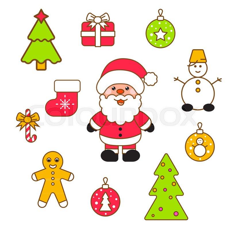 xmas vector clipart set santa and christmas eve decor objects stock vector colourbox - Christmas Eve Clipart