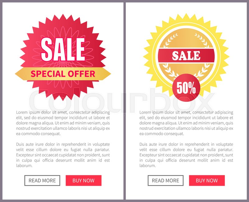 special offer sale round stickers on leaflets with text sample push buttons on online pages vector illustration 50 half price discount banners set stock