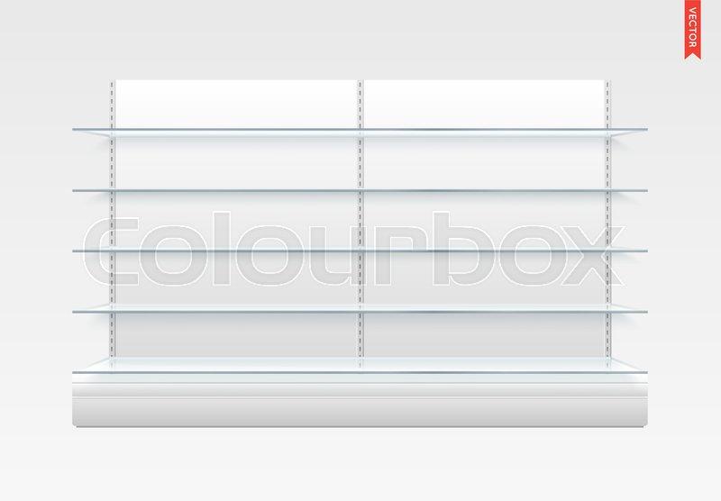 set of long glass shelves vector isolated on the metal back rh colourbox com long glass bathroom shelves long glass shelf brackets brushed chrome