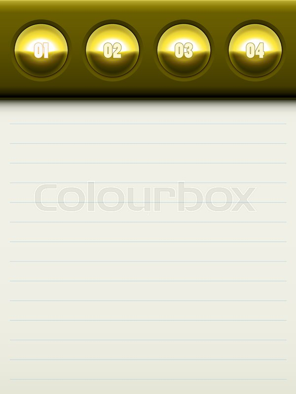 Paper Page With A Gold Top For The Diary Vector Template Numbered Lists Design