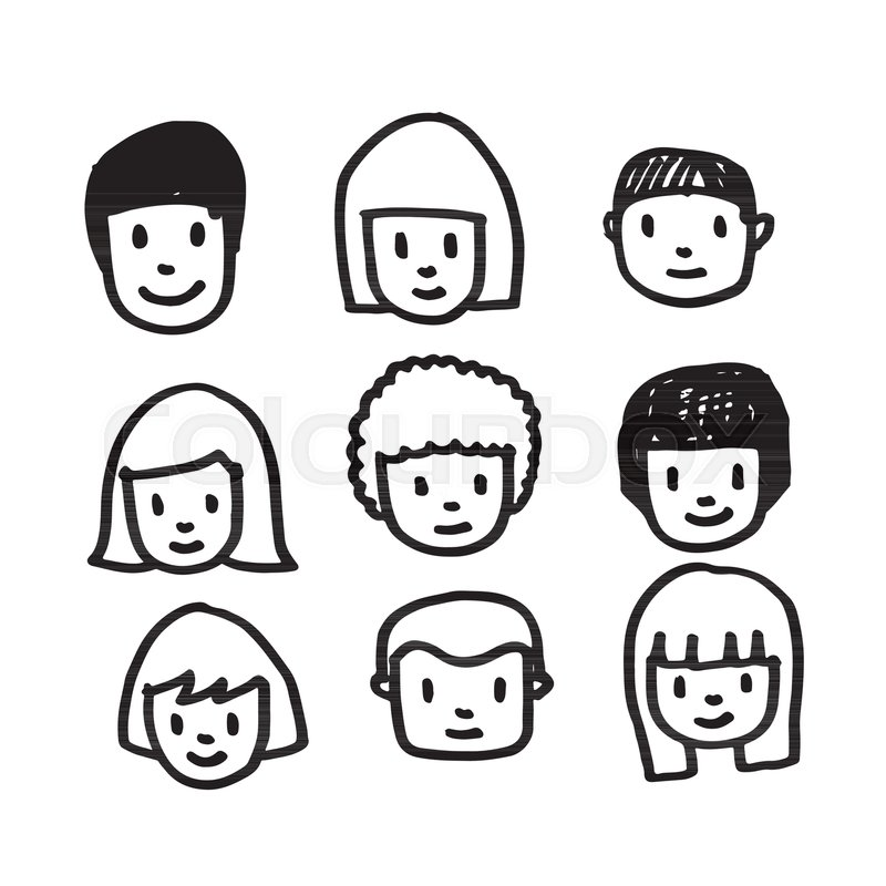 People Face Icon Hand Draw Stock Vector Colourbox