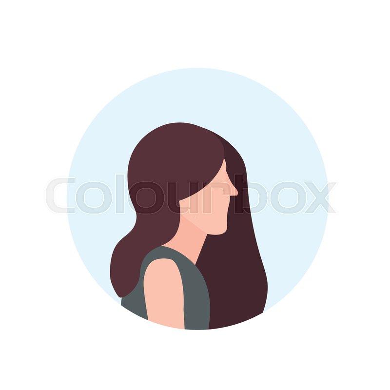 Brown Hair Woman Profile Avatar Stock Vector Colourbox