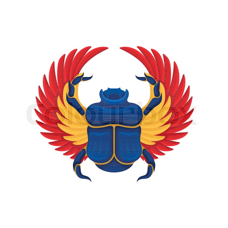 Cartoon Icon Of Blue Scarab Beetle With Yellow Orange Wings Sacred