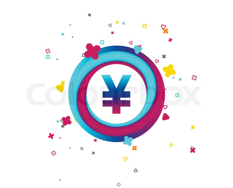 Yen Sign Icon Jpy Currency Symbol Money Label Colorful Button