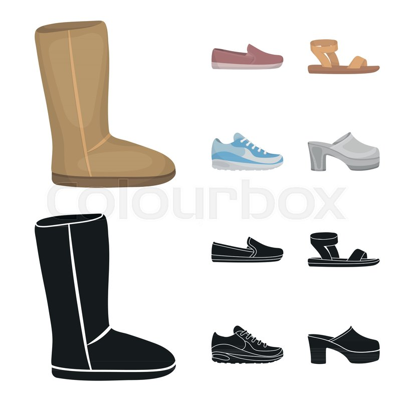 Beige ugg boots with fur, brown loafers with a white sole, sandals with a fastener, white and blue sneakers. Shoes set collection icons in cartoon,black ...