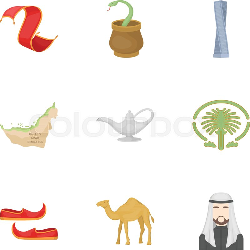 Arab Emirates Set Icons In Cartoon Style Big Collection Of Arab