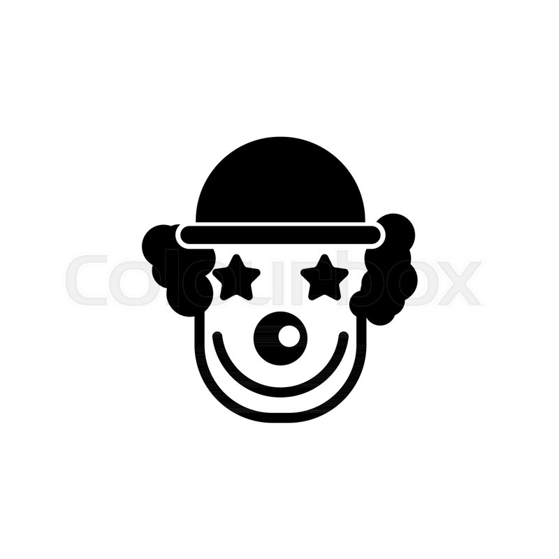 Cheerful smiling clown flat vector icon illustration simple black cheerful smiling clown flat vector icon illustration simple black symbol on white background cheerful smiling clown sign design template for web and maxwellsz