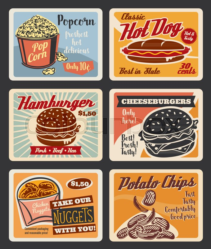 Fast food retro posters for cinema bistro bar or fastfood restaurant ...