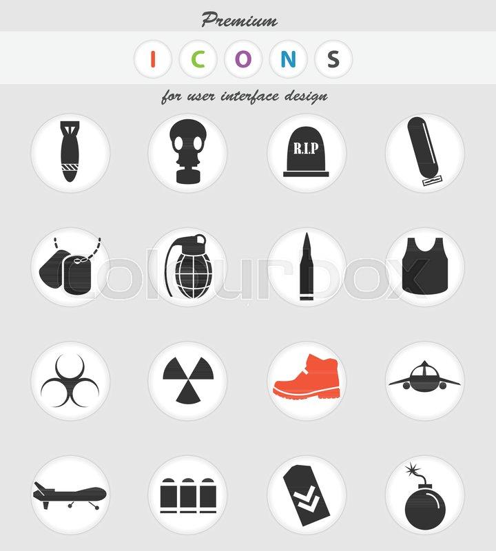 War Symbols Vector Icons For User Interface Design Stock Vector