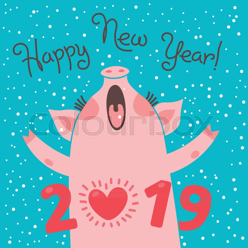 Happy 2019 >> Happy 2019 New Year Card Funny Piglet Stock Vector Colourbox