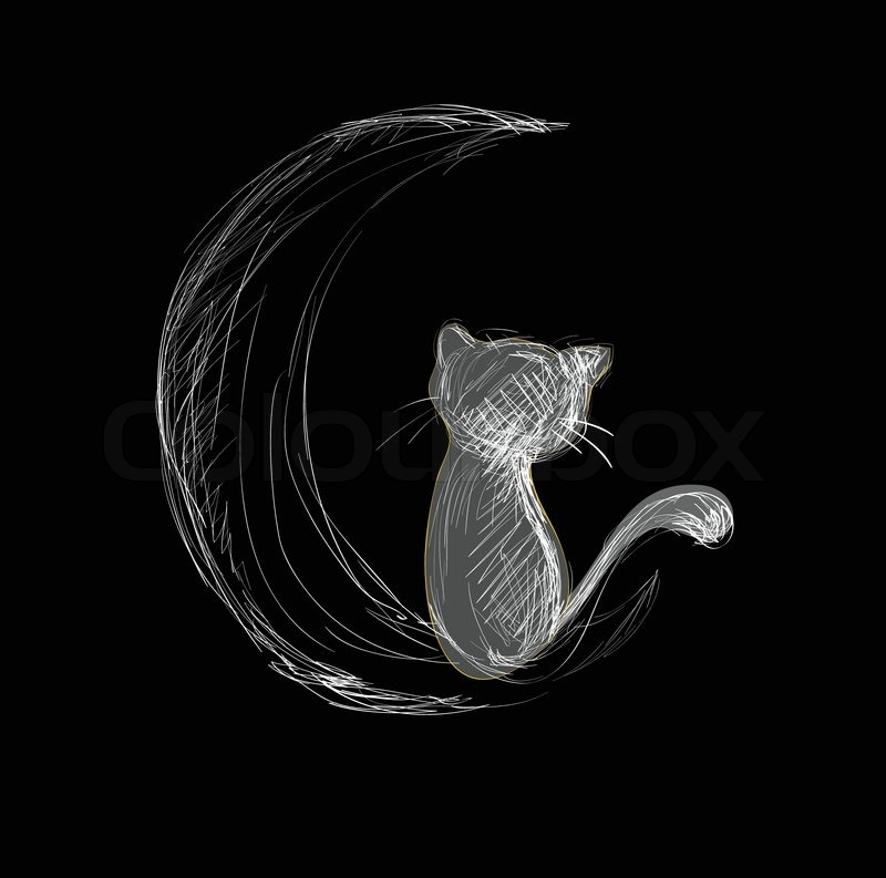 Love Cats Moon Cat on Moon Hand Drawn Sketch