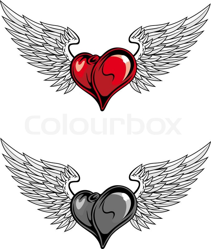 medieval heart with wings for religion or tattoo design in color and desaturate version stock. Black Bedroom Furniture Sets. Home Design Ideas
