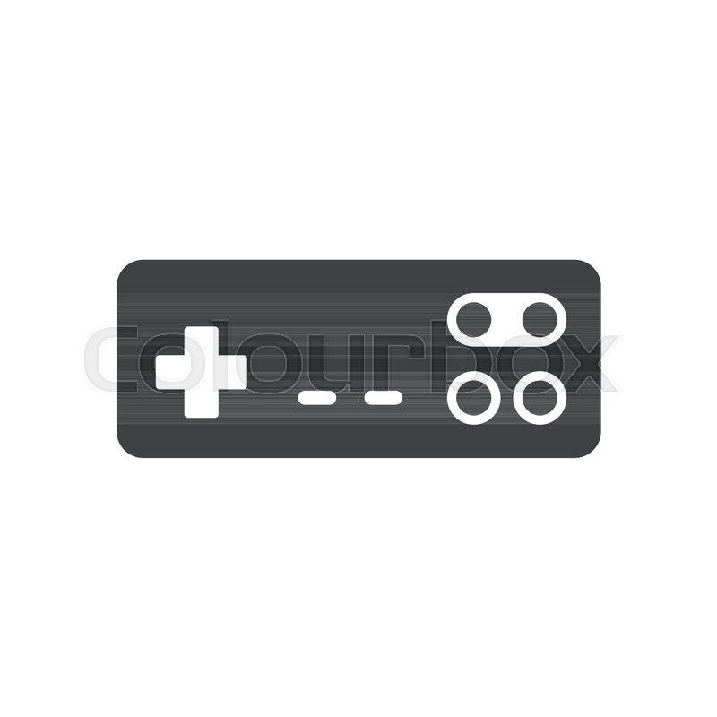 Video Game Joystick Icon Silhouette Black Isolated On White