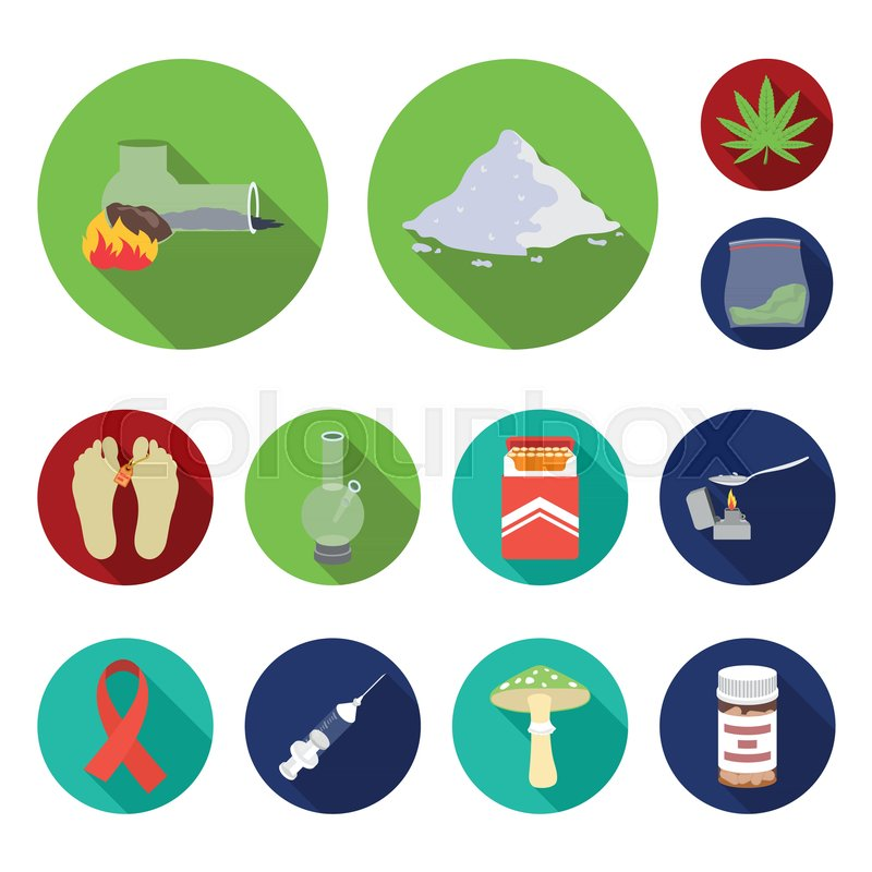 drug addiction and attributes flat stock vector colourbox drug addiction and attributes flat
