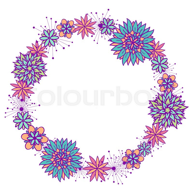 Beautiful vector doodle round floral frame with flowers in blue beautiful vector doodle round floral frame with flowers in blue pink violet and orange colors on white background cute design with copy space for mightylinksfo