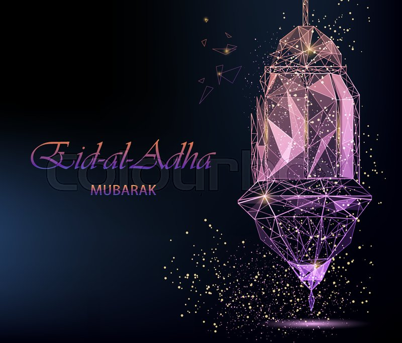 Eid Al Adha Bright Greeting Card With Traditional Arabic Lantern, Pink  Color. Polygonal Art On Dark Background. Usable For Eid Mubarak.