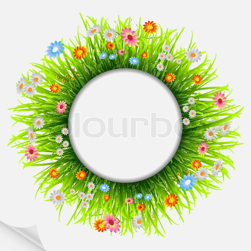 Round natural frame with grass and flowers | Stock Vector | Colourbox