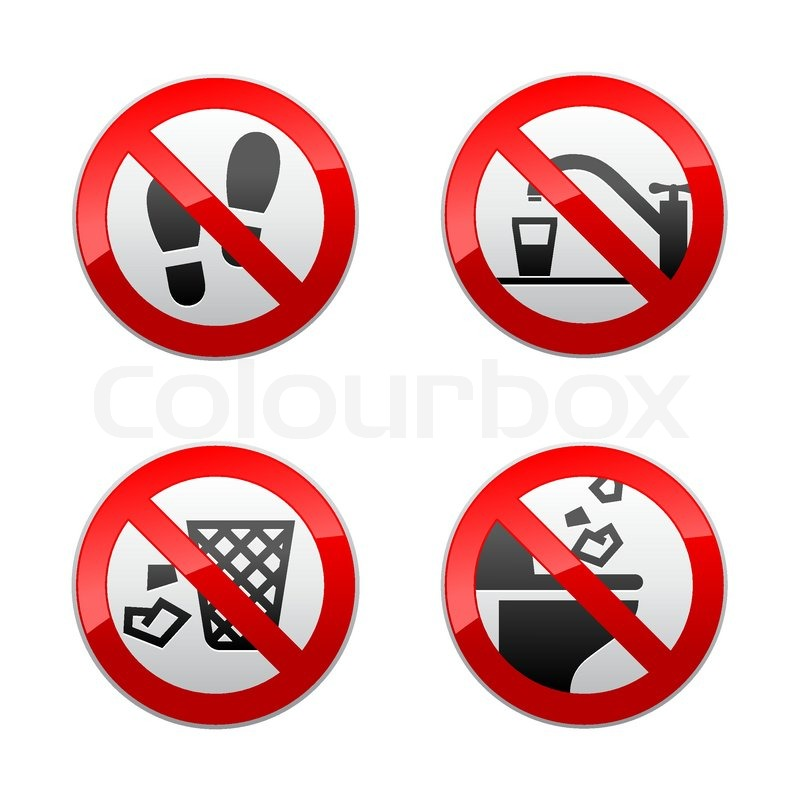 set prohibited signs wc stock vector colourbox. Black Bedroom Furniture Sets. Home Design Ideas