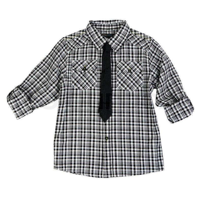kariertes hemd und krawatte auf wei em hintergrund stockfoto colourbox. Black Bedroom Furniture Sets. Home Design Ideas