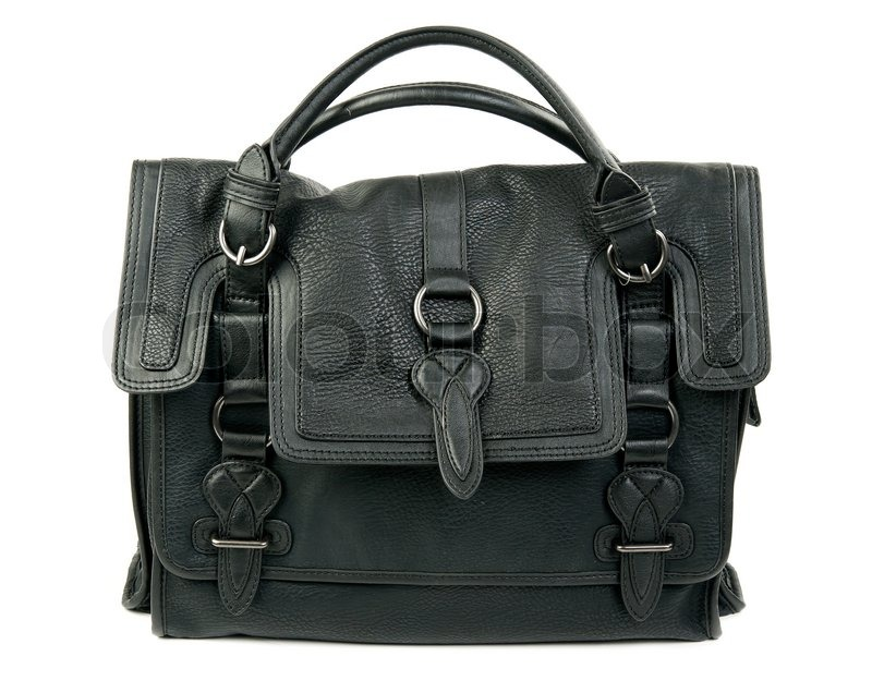 Sorte kvinder læder taske isoleret på | Stock foto