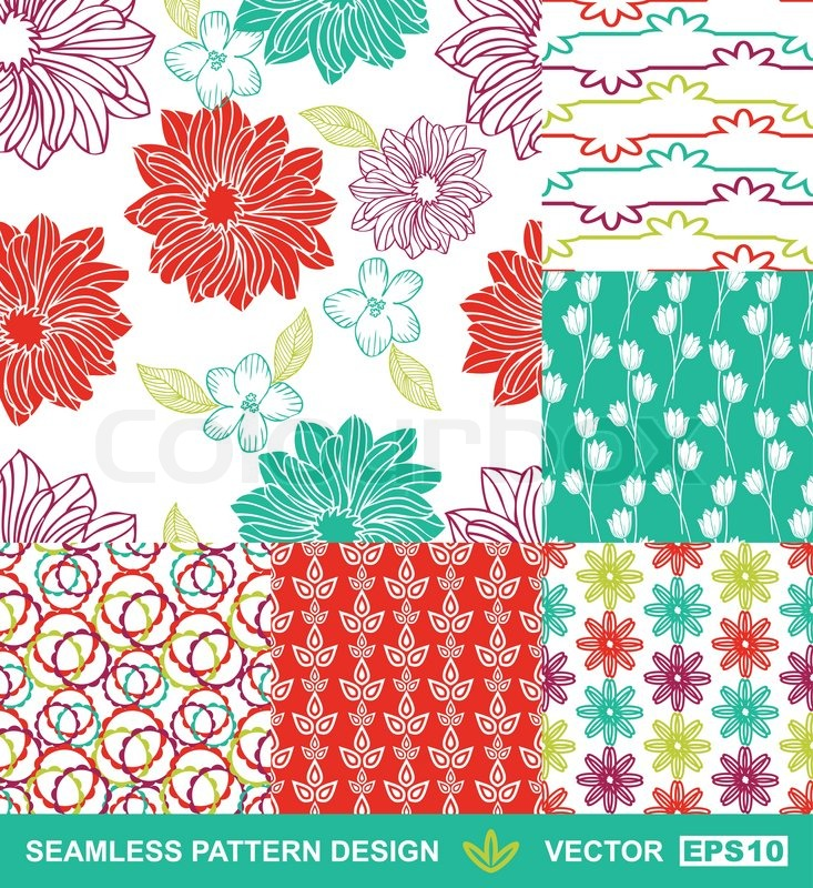 Retro Style Background Set, Vector Seamless Pattern