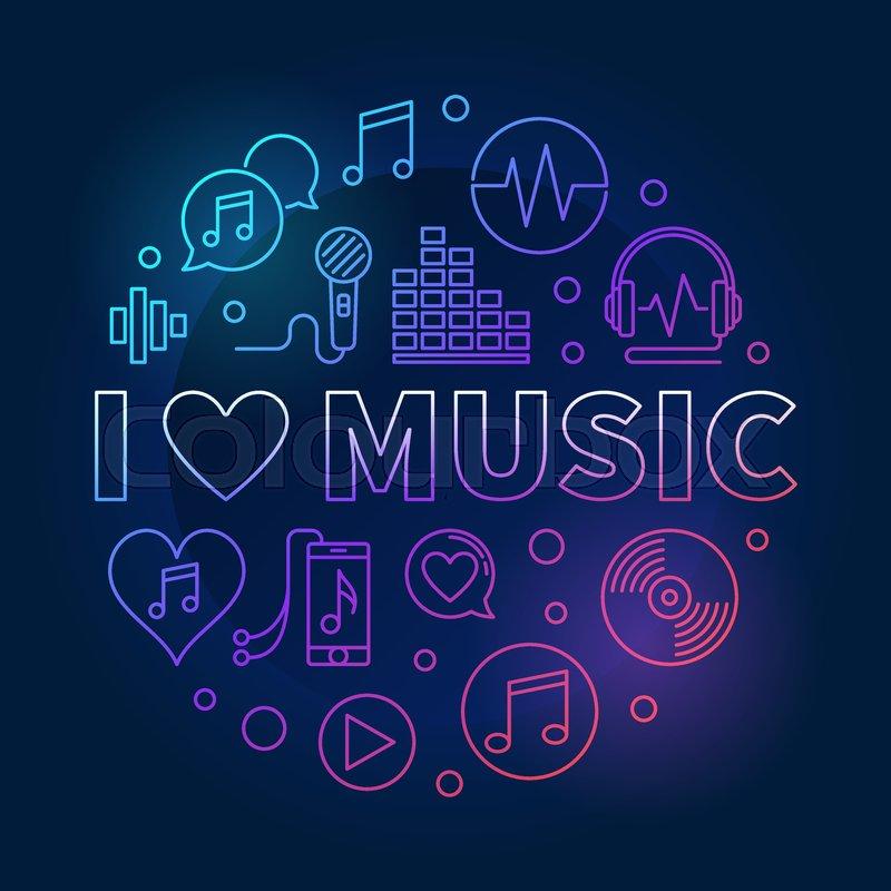 I Love Music circular vector colored     | Stock vector