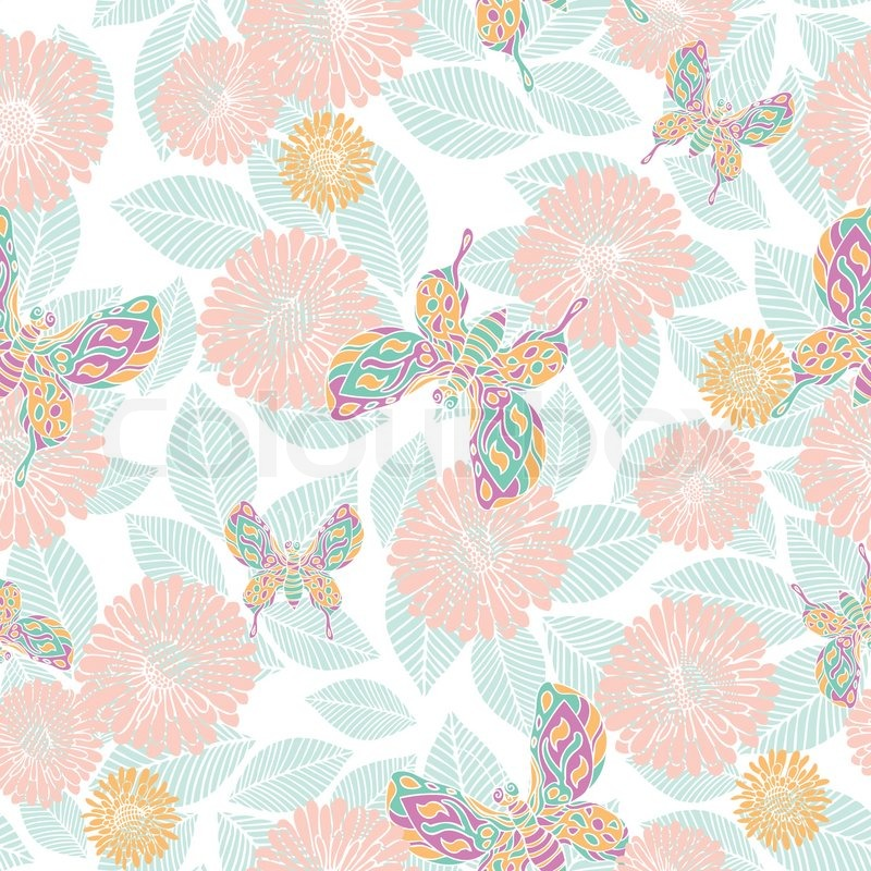 Retro Style Vector Seamless Pattern Fabric Wallpaper Wrapping And Background With Flower Leaf Butterfly Ornaments