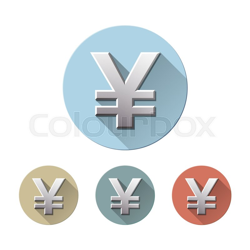 Set Of Yen Currency Symbol On Colored Circle Flat Icons Isolated On