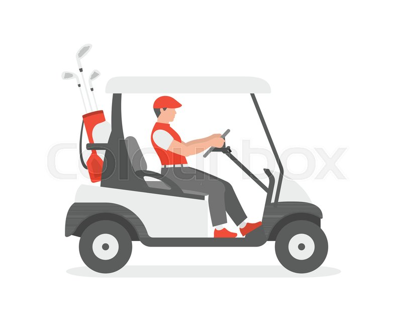 Golf Cart Flat Style Isolated On Stock Vector Colourbox