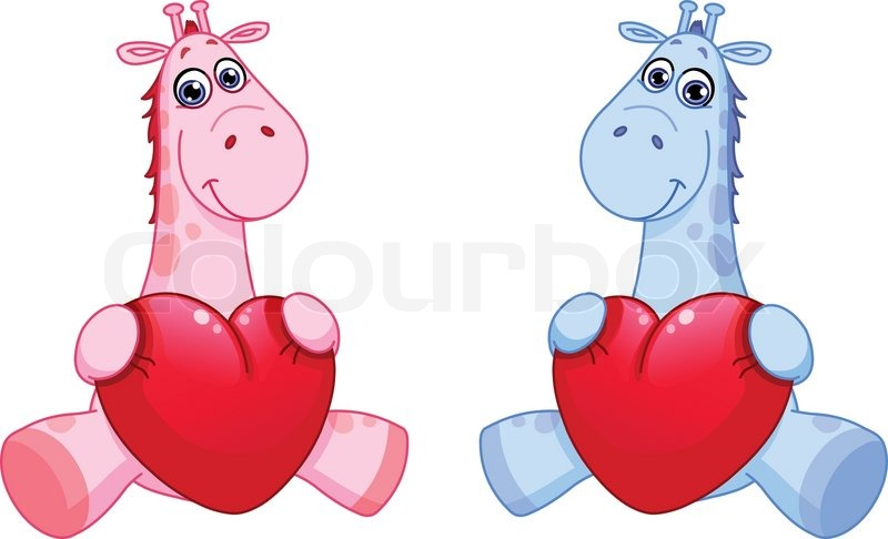 Baby Giraffes Holding Hearts Stock Vector Colourbox