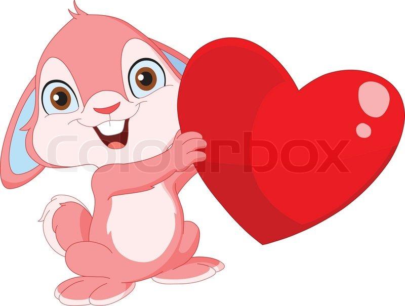 Cute bunny holding a h...