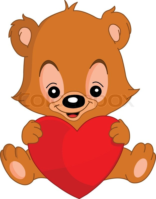 cute valentines teddy bear holding a big heart stock vector