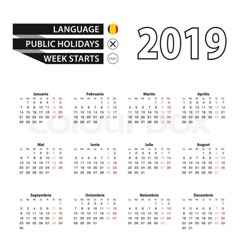 calendar 2019 in romanian language