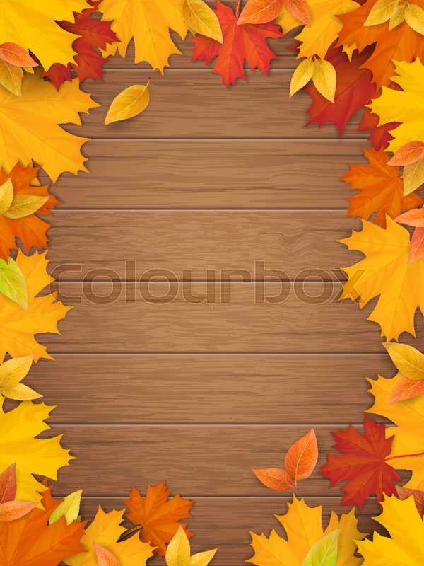 Autumn leaves on wooden background. Frame from fallen maple leaf ...